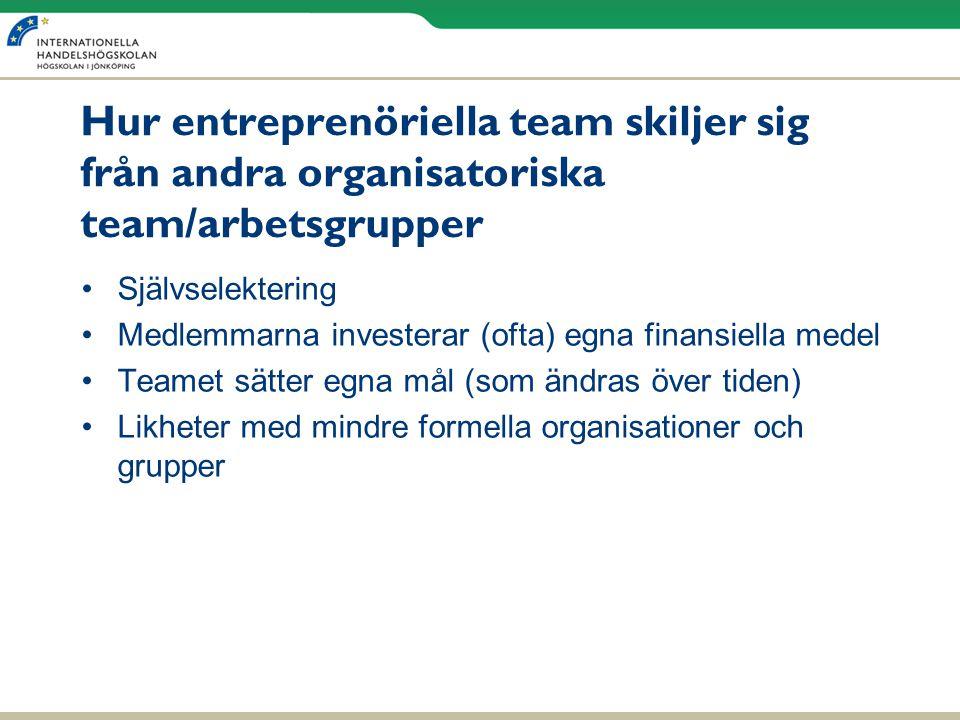 Hur entreprenöriella team skiljer sig från andra organisatoriska team/arbetsgrupper •Självselektering •Medlemmarna investerar (ofta) egna finansiella