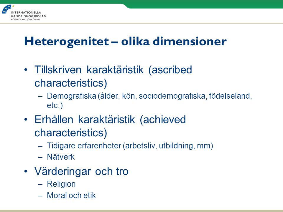 Heterogenitet – olika dimensioner •Tillskriven karaktäristik (ascribed characteristics) –Demografiska (ålder, kön, sociodemografiska, födelseland, etc