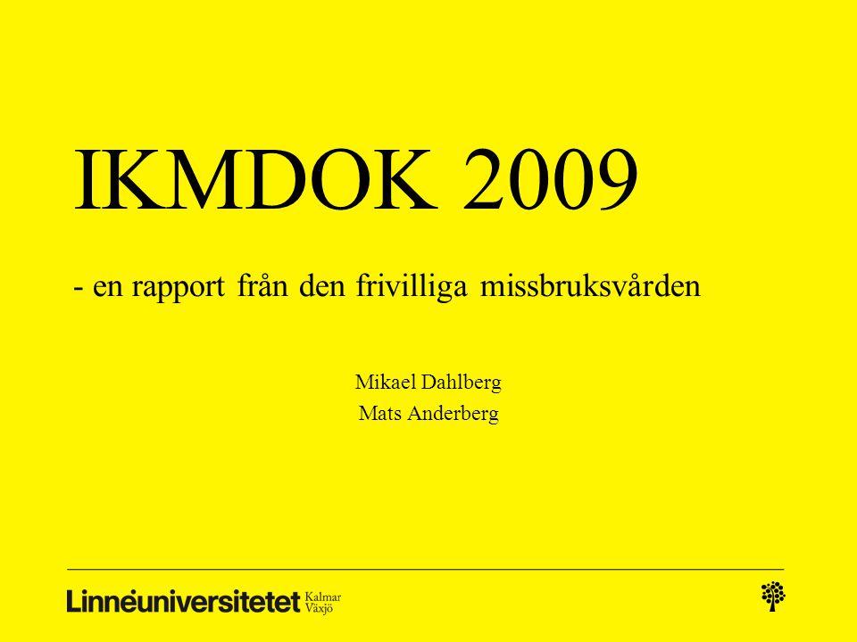 IKMDOK 2009 - en rapport från den frivilliga missbruksvården Mikael Dahlberg Mats Anderberg