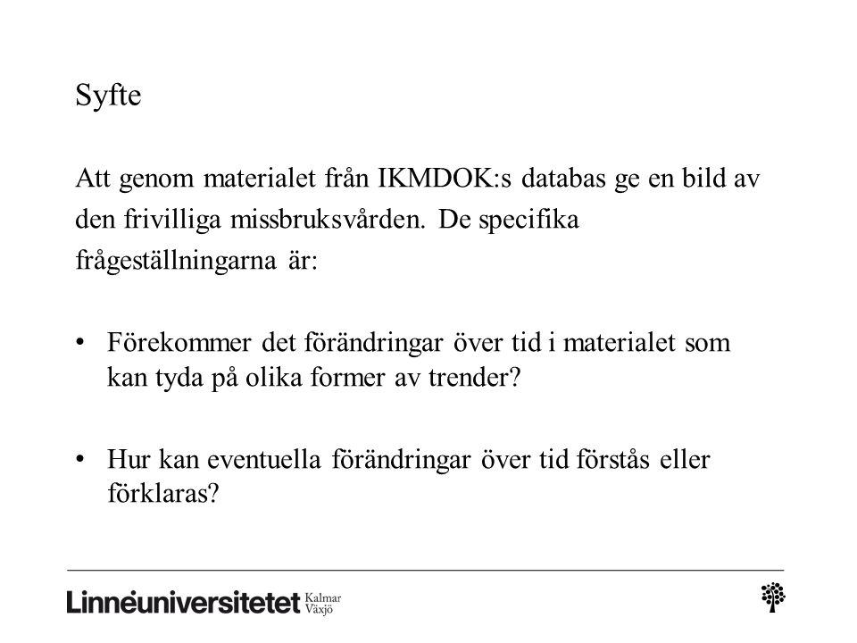 Syfte Att genom materialet från IKMDOK:s databas ge en bild av den frivilliga missbruksvården.