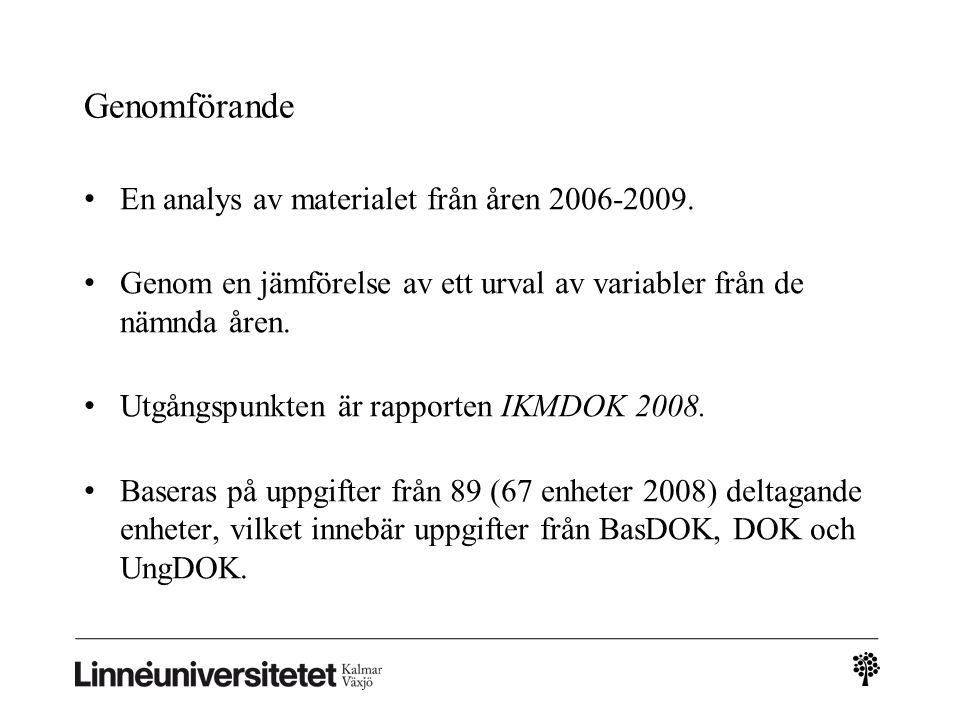 Genomförande • En analys av materialet från åren 2006-2009.