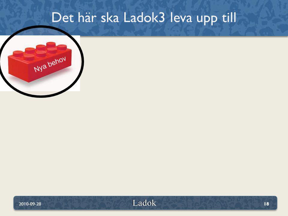 Det här ska Ladok3 leva upp till 2010-09-2818 Nya behov
