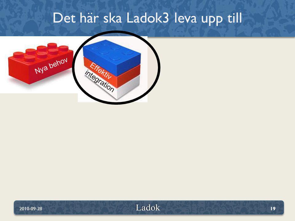 Det här ska Ladok3 leva upp till 2010-09-2819 Effektiv integration Nya behov