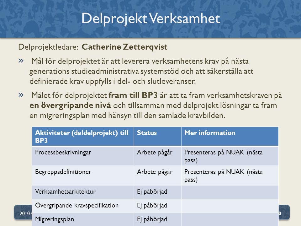 Delprojektledare: Catherine Zetterqvist » Mål för delprojektet är att leverera verksamhetens krav på nästa generations studieadministrativa systemstöd