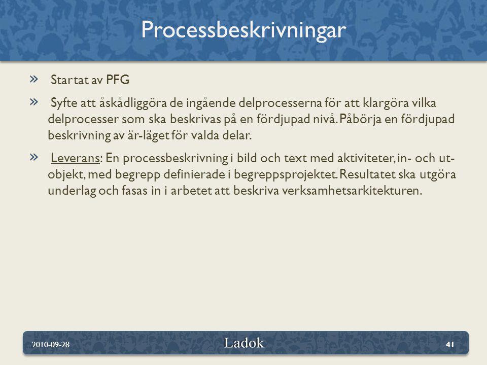 » Startat av PFG » Syfte att åskådliggöra de ingående delprocesserna för att klargöra vilka delprocesser som ska beskrivas på en fördjupad nivå. Påbör