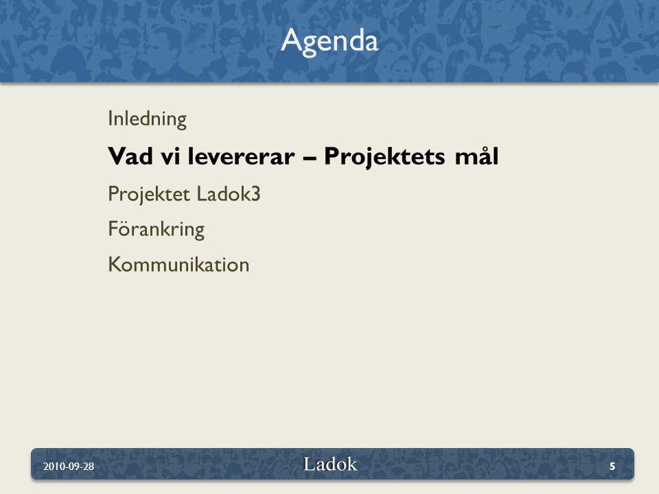 Inledning Vad vi levererar – Projektets mål Projektet Ladok3 Förankring Kommunikation Agenda 2010-09-285