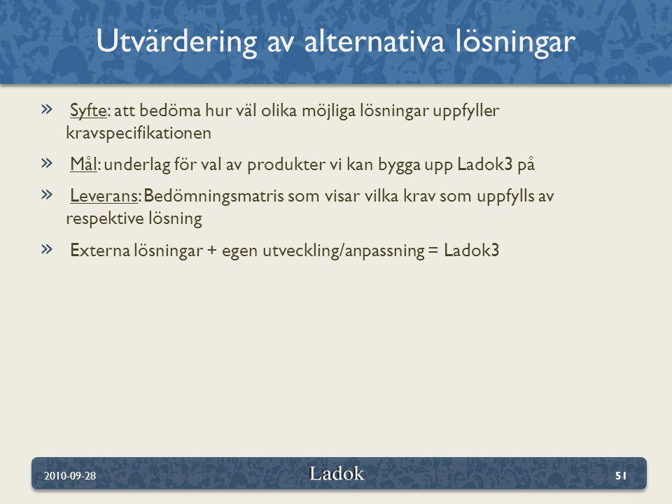 » Syfte: att bedöma hur väl olika möjliga lösningar uppfyller kravspecifikationen » Mål: underlag för val av produkter vi kan bygga upp Ladok3 på » Leverans: Bedömningsmatris som visar vilka krav som uppfylls av respektive lösning » Externa lösningar + egen utveckling/anpassning = Ladok3 Utvärdering av alternativa lösningar 2010-09-2851