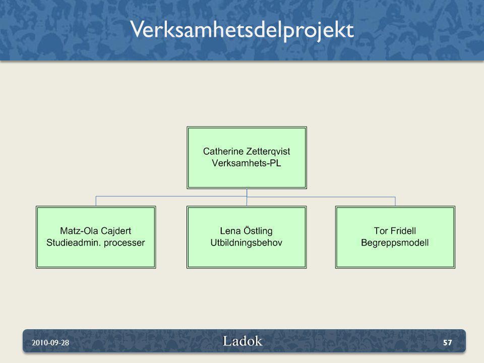 Verksamhetsdelprojekt 2010-09-2857