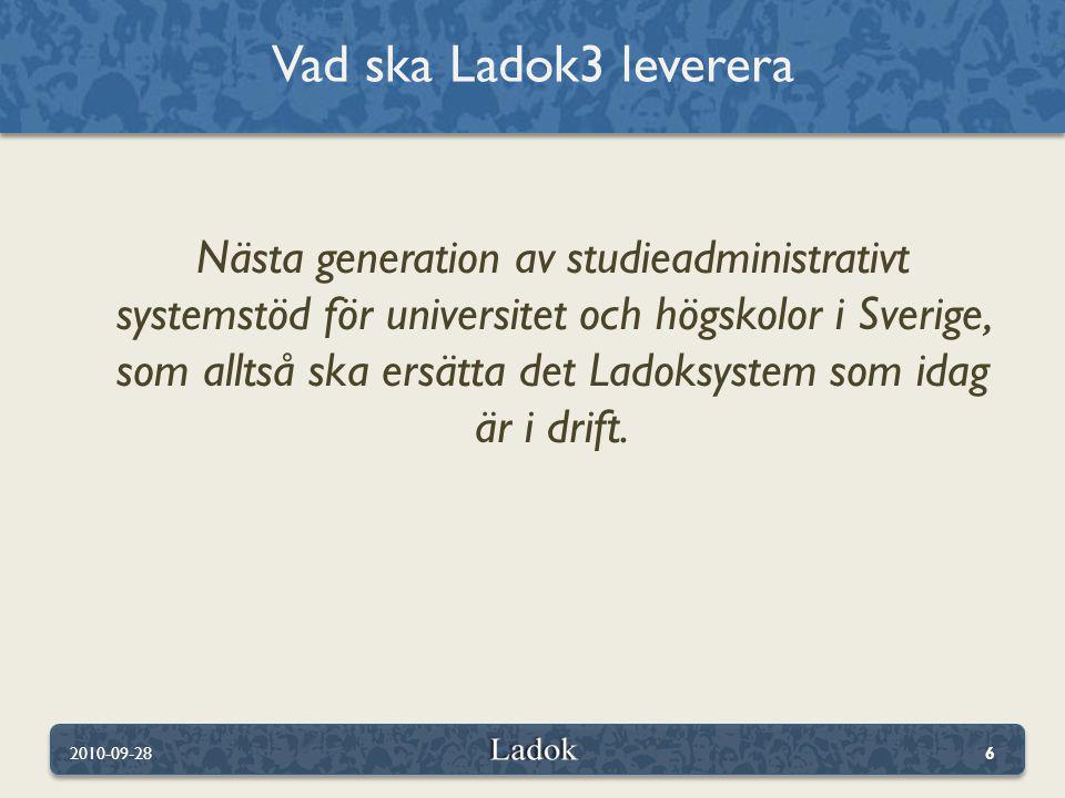 Det här ska Ladok3 leva upp till 2010-09-2827 Hållbart över tiden Effektiv integration Nya behov Kostnadseffektivt Effektiv datadelning 24/7 drift Enkelt Flexibelt Modernt Mobila studenter Användarvänlighet