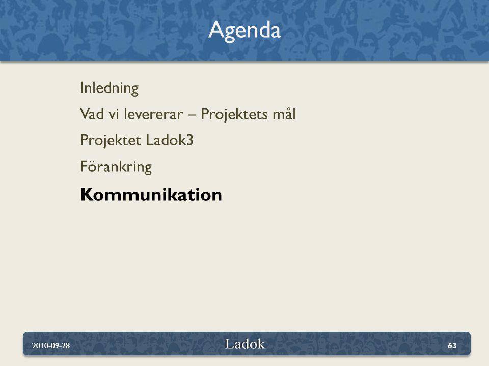 Inledning Vad vi levererar – Projektets mål Projektet Ladok3 Förankring Kommunikation Agenda 2010-09-2863