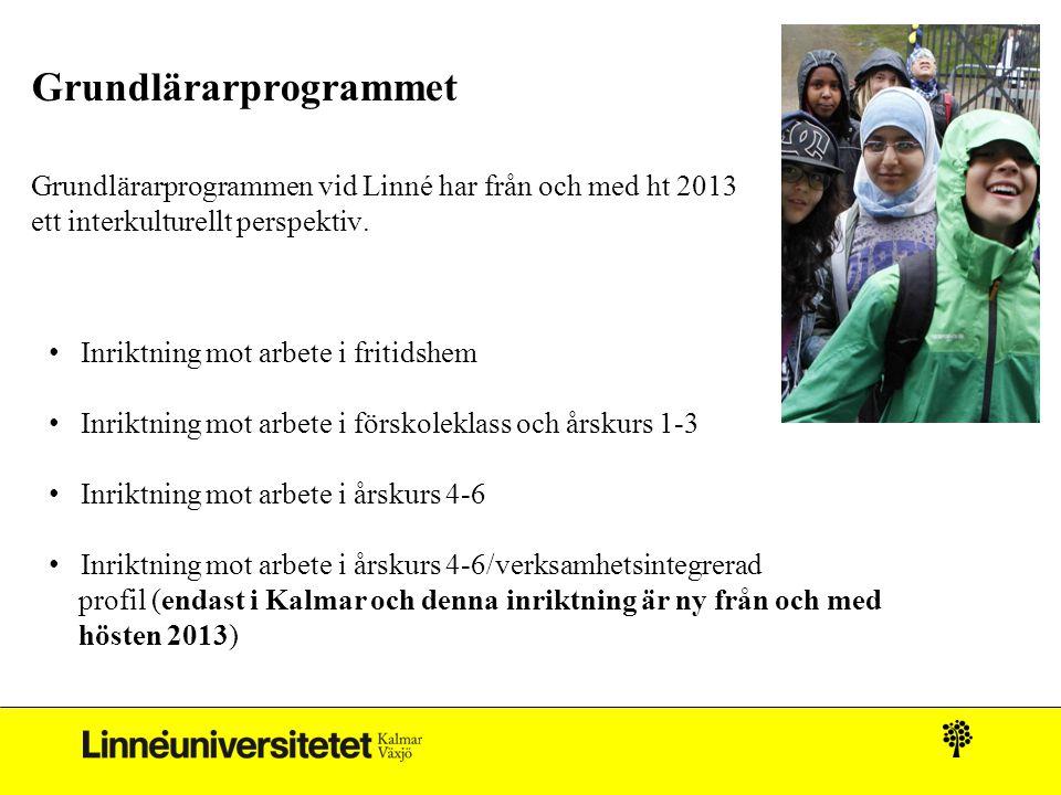 Grundlärarprogrammet Grundlärarprogrammen vid Linné har från och med ht 2013 ett interkulturellt perspektiv. • Inriktning mot arbete i fritidshem • In