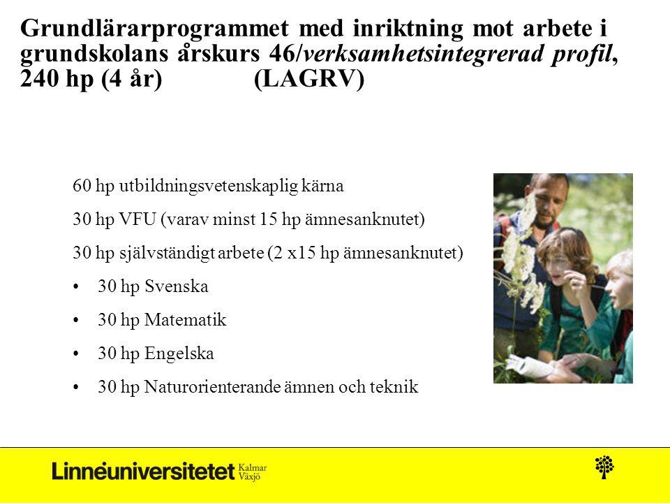 Grundlärarprogrammet med inriktning mot arbete i grundskolans a ̊ rskurs 46/verksamhetsintegrerad profil, 240 hp (4 år) (LAGRV) 60 hp utbildningsvete
