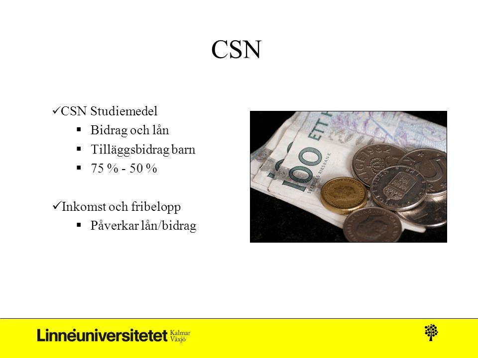 CSN  CSN Studiemedel  Bidrag och lån  Tilläggsbidrag barn  75 % - 50 %  Inkomst och fribelopp  Påverkar lån/bidrag