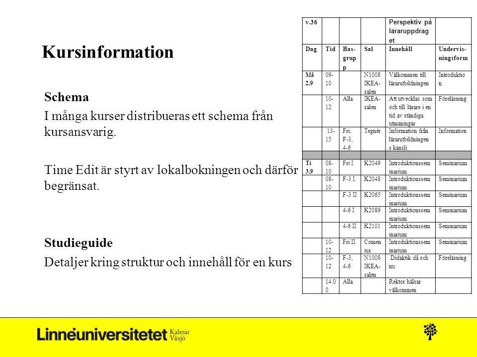 Kursinformation Schema I många kurser distribueras ett schema från kursansvarig. Time Edit är styrt av lokalbokningen och därför begränsat. Studieguid