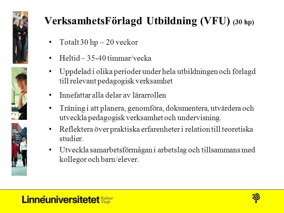 VerksamhetsFörlagd Utbildning (VFU) (30 hp) • Totalt 30 hp – 20 veckor • Heltid – 35-40 timmar/vecka • Uppdelad i olika perioder under hela utbildning