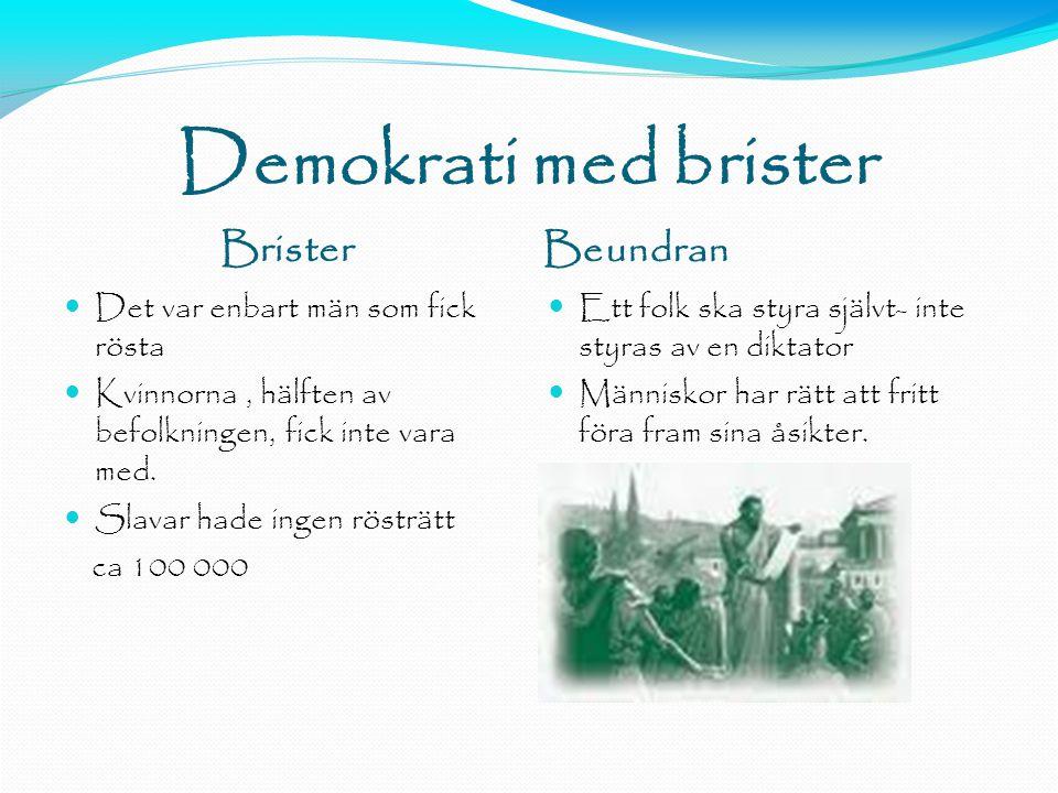 Demokrati med brister Brister Beundran  Det var enbart män som fick rösta  Kvinnorna, hälften av befolkningen, fick inte vara med.