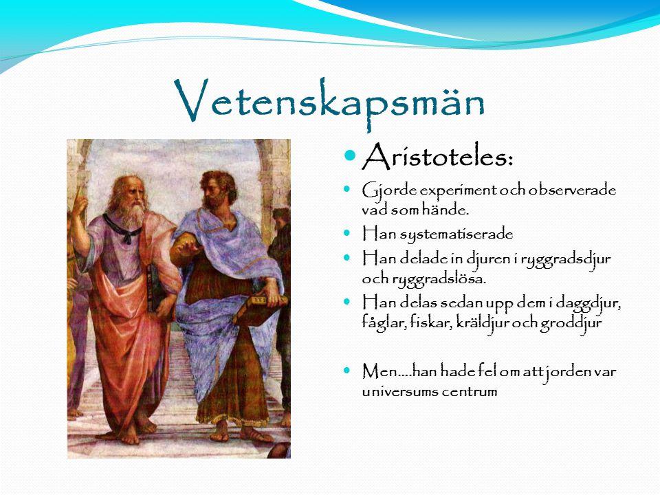 Vetenskapsmän  Aristoteles:  Gjorde experiment och observerade vad som hände.