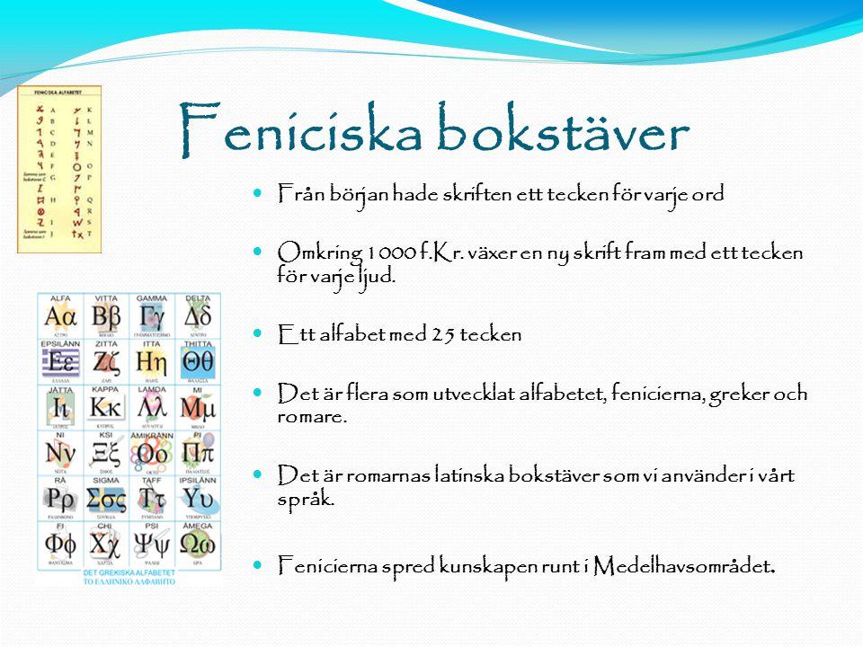 Feniciska bokstäver  Från början hade skriften ett tecken för varje ord  Omkring 1000 f.Kr.