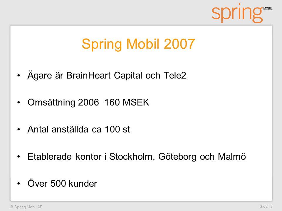 © Spring Mobil AB Sidan 2 Spring Mobil 2007 •Ägare är BrainHeart Capital och Tele2 •Omsättning 2006 160 MSEK •Antal anställda ca 100 st •Etablerade ko