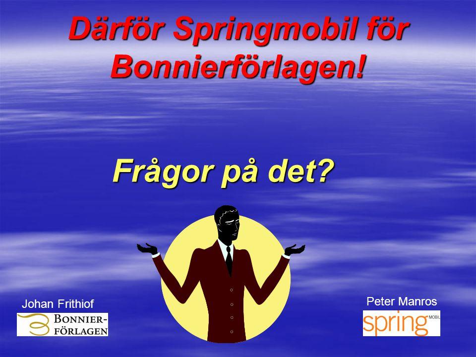 Frågor på det? Därför Springmobil för Bonnierförlagen! Johan Frithiof Peter Manros Spring Mobil
