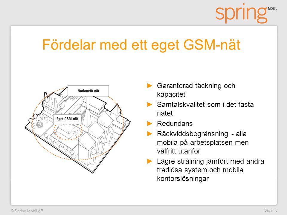 © Spring Mobil AB Sidan 5 Fördelar med ett eget GSM-nät ►Garanterad täckning och kapacitet ►Samtalskvalitet som i det fasta nätet ►Redundans ►Räckvidd