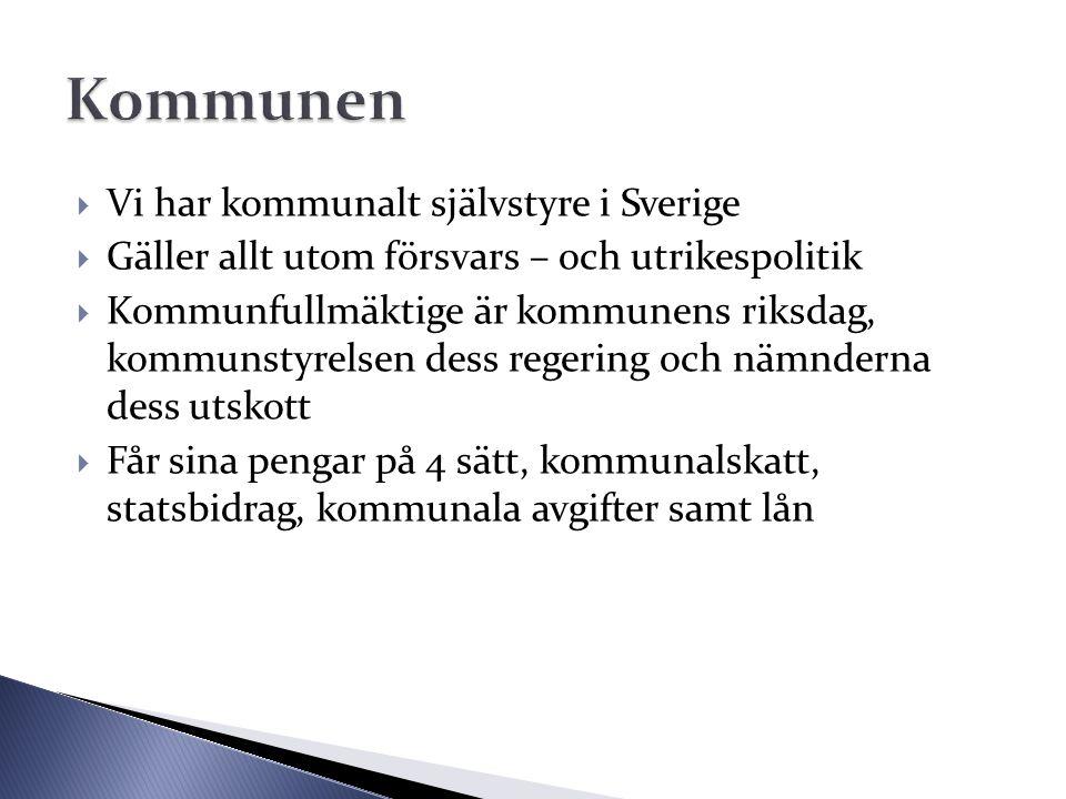  Vi har kommunalt självstyre i Sverige  Gäller allt utom försvars – och utrikespolitik  Kommunfullmäktige är kommunens riksdag, kommunstyrelsen des