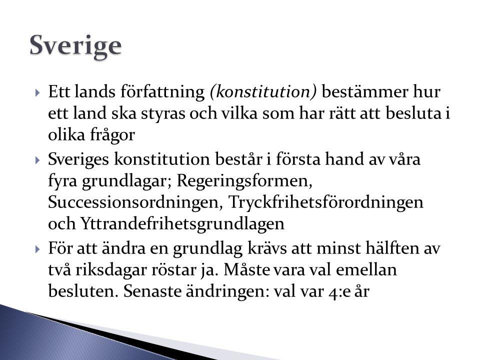  Ett lands författning (konstitution) bestämmer hur ett land ska styras och vilka som har rätt att besluta i olika frågor  Sveriges konstitution bes