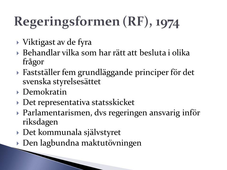  Viktigast av de fyra  Behandlar vilka som har rätt att besluta i olika frågor  Fastställer fem grundläggande principer för det svenska styrelsesät