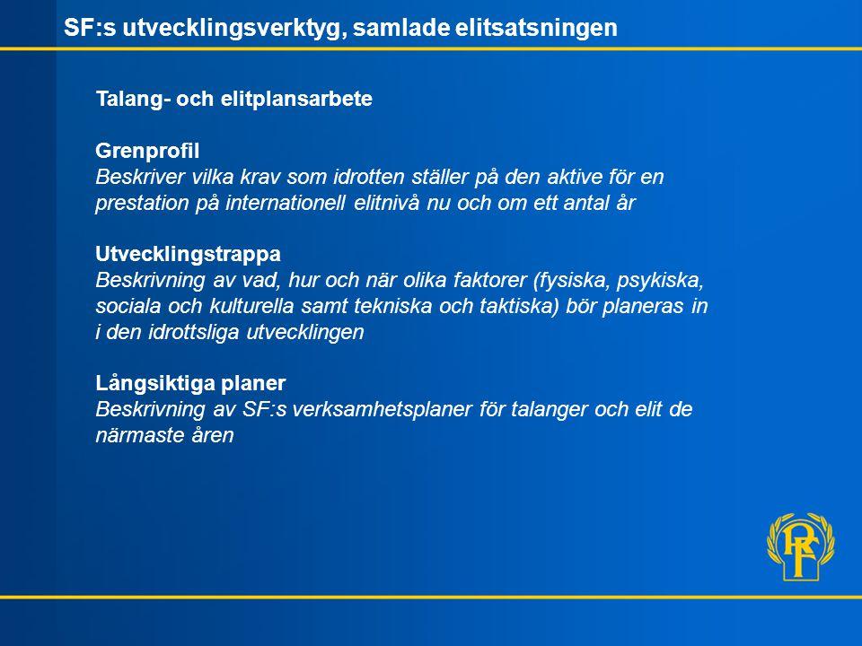 Tränar- kompetens Resurser Kvalitets- säkring SF:s elit- organisation Framgångsrik svensk elitidrott Utvecklings- trappa Träningskoncept Kapacitetsprofil / rådgivning Individuella utvecklingsplaner Utvecklingsmiljö RIG / Gymnasiala studier Postgymnasiala studier / arbete Grenprofil Värdegrund Genusperspektiv Karriärövergångar Omvärldsbevakning Talang- och elitplan
