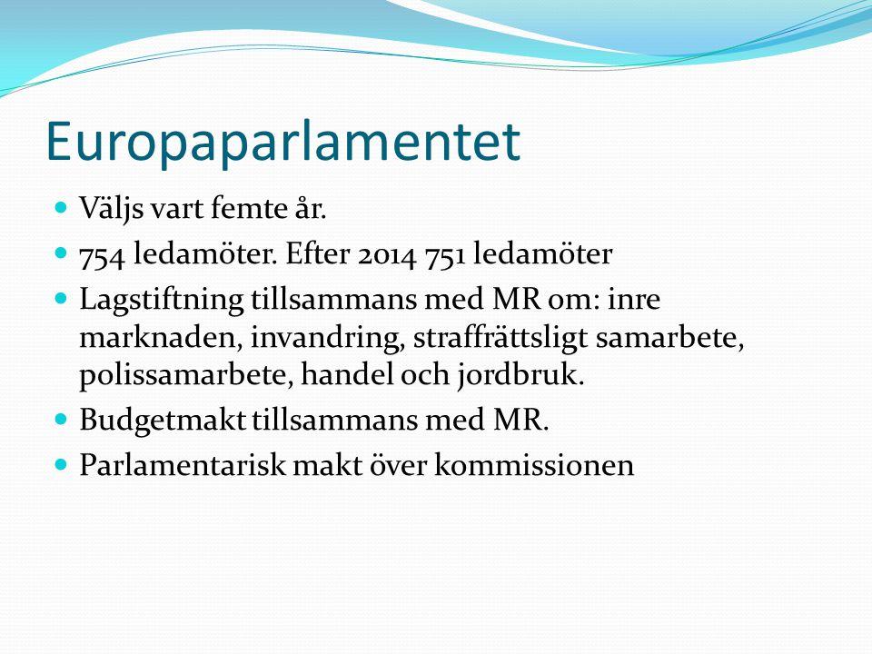 Europaparlamentet  Väljs vart femte år.  754 ledamöter. Efter 2014 751 ledamöter  Lagstiftning tillsammans med MR om: inre marknaden, invandring, s