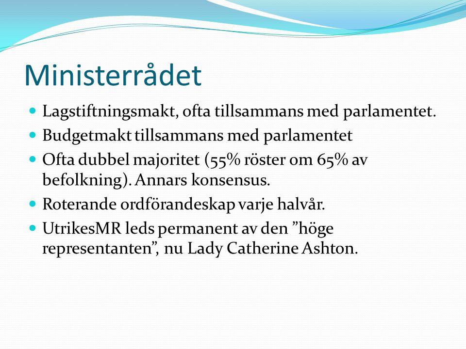 Ministerrådet  Lagstiftningsmakt, ofta tillsammans med parlamentet.  Budgetmakt tillsammans med parlamentet  Ofta dubbel majoritet (55% röster om 6