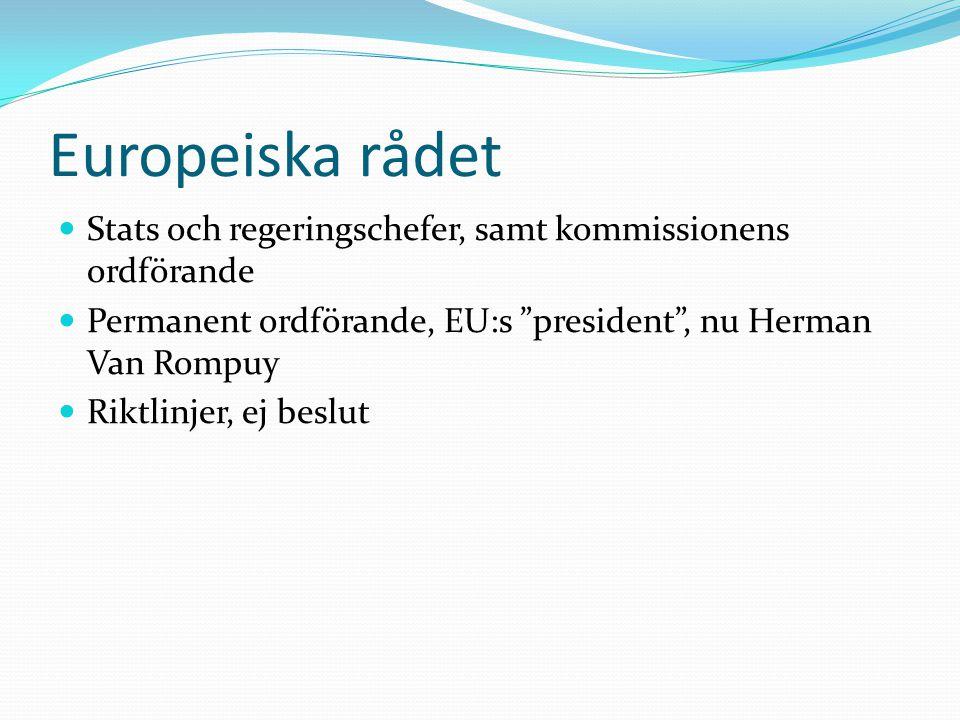 """Europeiska rådet  Stats och regeringschefer, samt kommissionens ordförande  Permanent ordförande, EU:s """"president"""", nu Herman Van Rompuy  Riktlinje"""