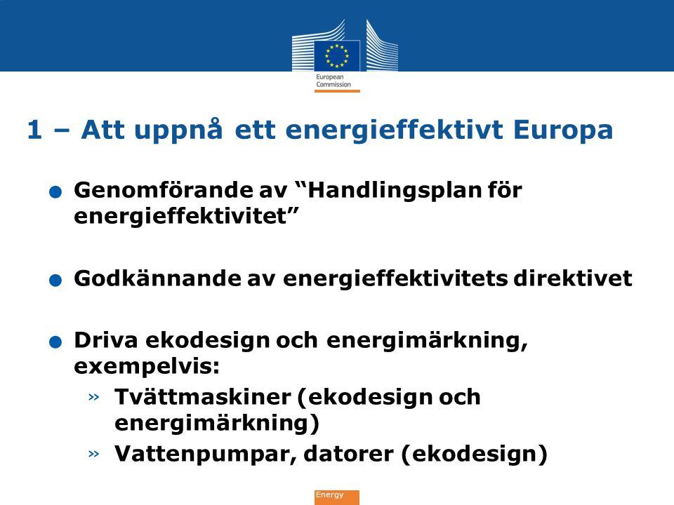 """Energy. Genomförande av """"Handlingsplan för energieffektivitet"""". Godkännande av energieffektivitets direktivet. Driva ekodesign och energimärkning, exe"""