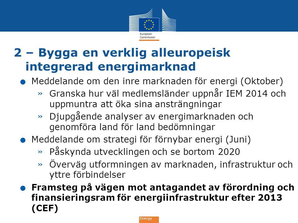 Energy 2 – Bygga en verklig alleuropeisk integrerad energimarknad. Meddelande om den inre marknaden för energi (Oktober) » Granska hur väl medlemsländ