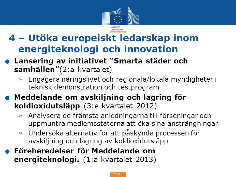 """Energy 4 – Utöka europeiskt ledarskap inom energiteknologi och innovation. Lansering av initiativet """"Smarta städer och samhällen""""(2:a kvartalet) » Eng"""