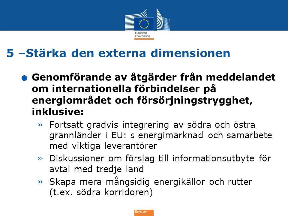 Energy 5 –Stärka den externa dimensionen. Genomförande av åtgärder från meddelandet om internationella förbindelser på energiområdet och försörjningst