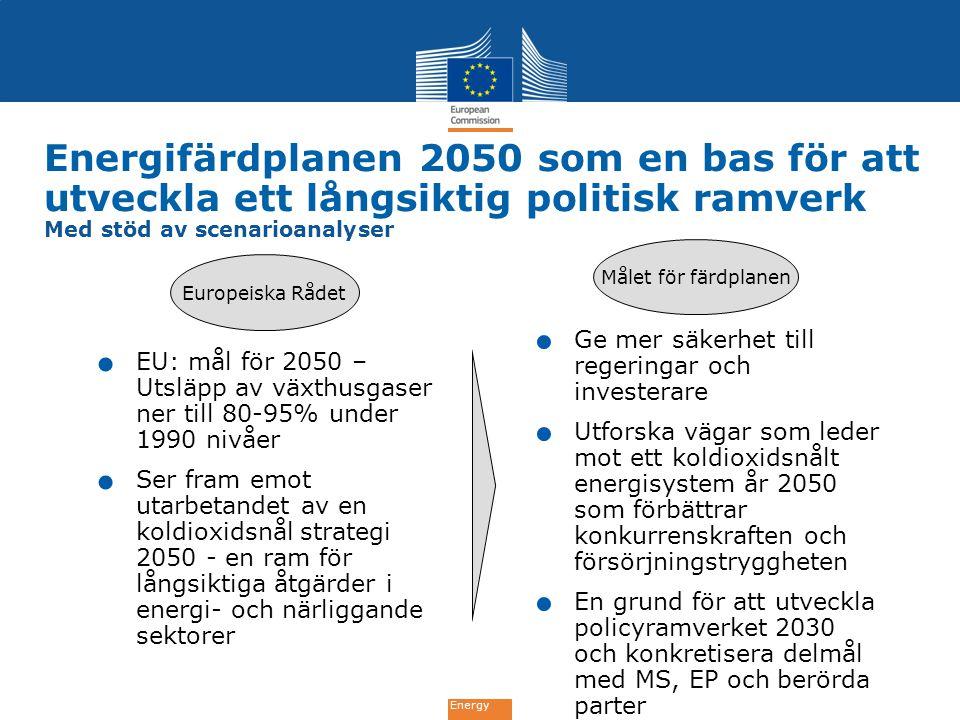 Energy Energifärdplanen 2050 som en bas för att utveckla ett långsiktig politisk ramverk Med stöd av scenarioanalyser. EU: mål för 2050 – Utsläpp av v