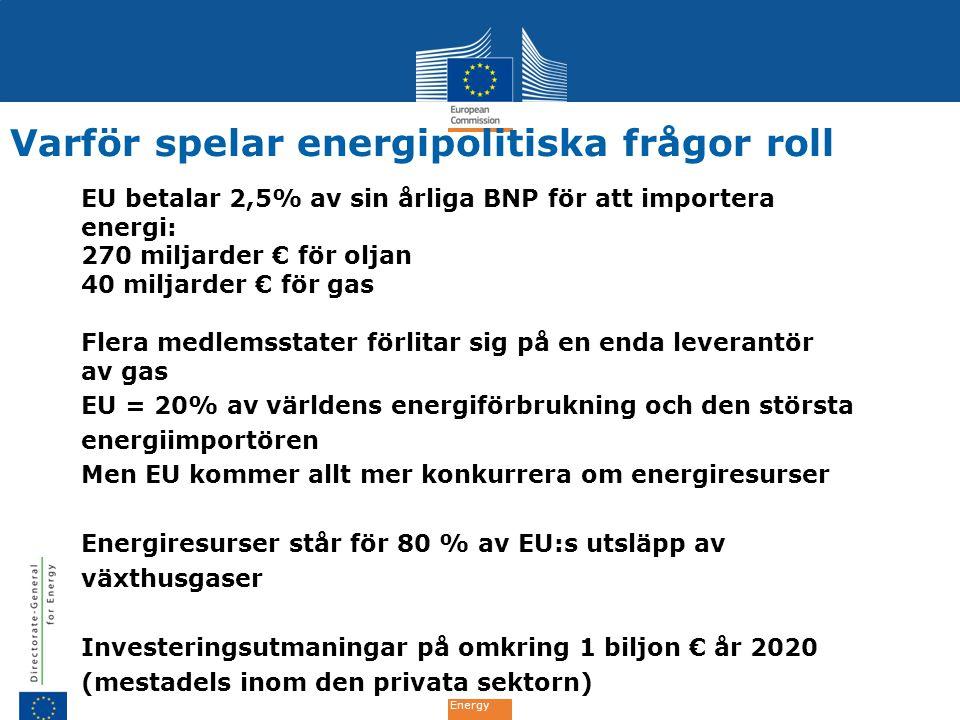 Energy Varför spelar energipolitiska frågor roll EU betalar 2,5% av sin årliga BNP för att importera energi: 270 miljarder € för oljan 40 miljarder €