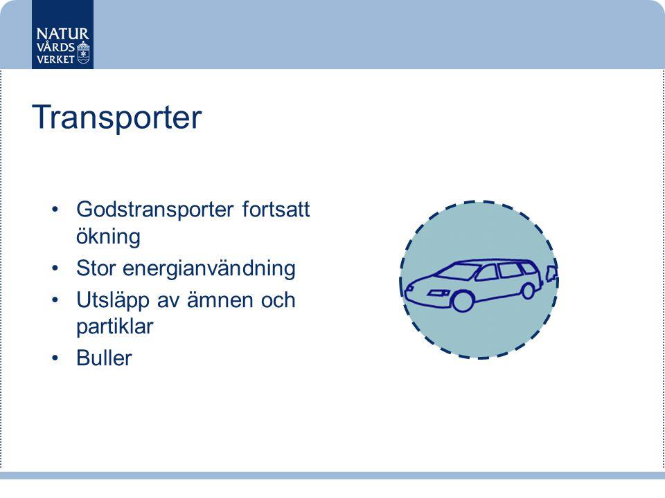 •Godstransporter fortsatt ökning •Stor energianvändning •Utsläpp av ämnen och partiklar •Buller Transporter