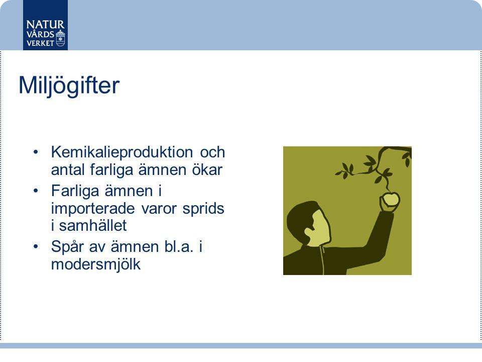 Miljögifter •Kemikalieproduktion och antal farliga ämnen ökar •Farliga ämnen i importerade varor sprids i samhället •Spår av ämnen bl.a. i modersmjölk