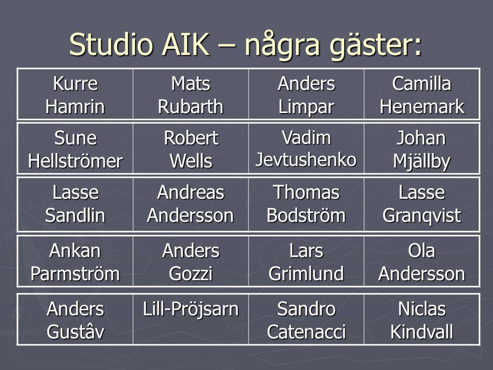 Studio AIK – några gäster: Lasse Sandlin Andreas Andersson Thomas Bodström Lasse Granqvist Kurre Hamrin Mats Rubarth Anders Limpar Camilla Henemark Su