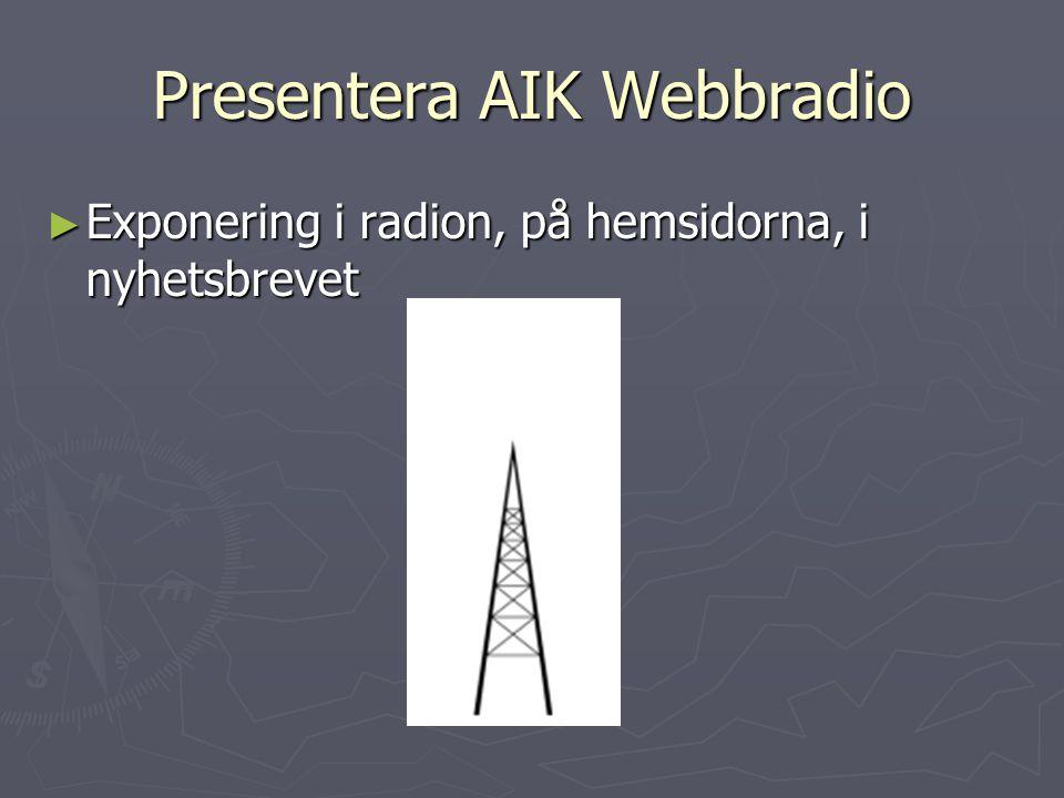 Presentera AIK Webbradio ► Exponering i radion, på hemsidorna, i nyhetsbrevet