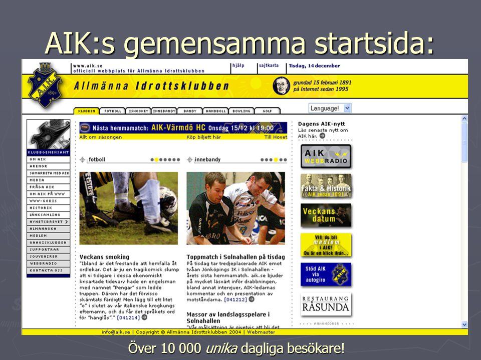 AIK:s gemensamma startsida: Över 10 000 unika dagliga besökare!