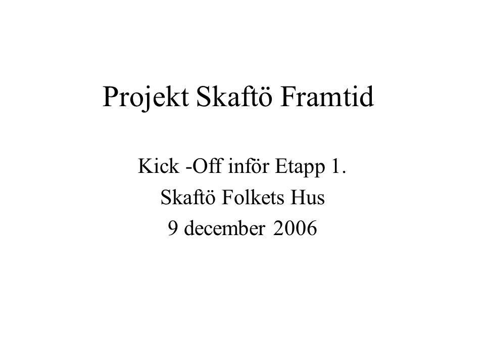 Projekt Skaftö Framtid Kick -Off inför Etapp 1. Skaftö Folkets Hus 9 december 2006