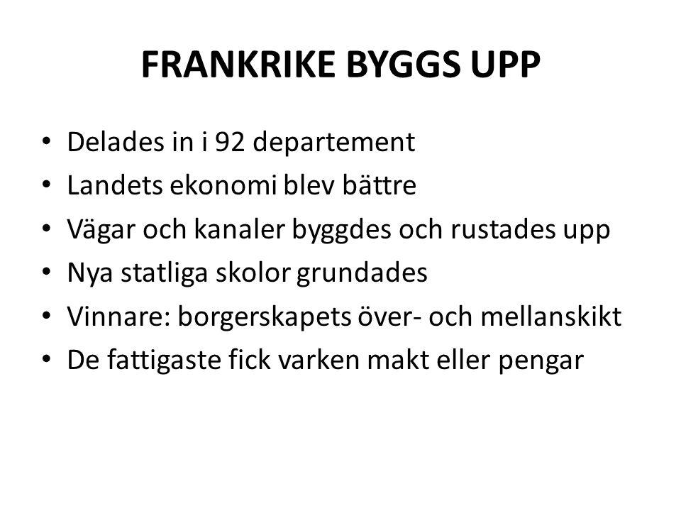 FRANKRIKE BYGGS UPP • Delades in i 92 departement • Landets ekonomi blev bättre • Vägar och kanaler byggdes och rustades upp • Nya statliga skolor gru