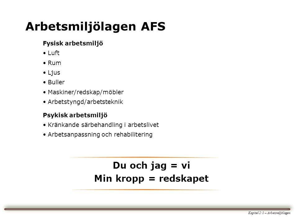 Arbetsmiljölagen AFS Kapitel 2:1 – Arbetsmiljölagen Fysisk arbetsmiljö • Luft • Rum • Ljus • Buller • Maskiner/redskap/möbler • Arbetstyngd/arbetsteknik Psykisk arbetsmiljö • Kränkande särbehandling i arbetslivet • Arbetsanpassning och rehabilitering Du och jag = vi Min kropp = redskapet
