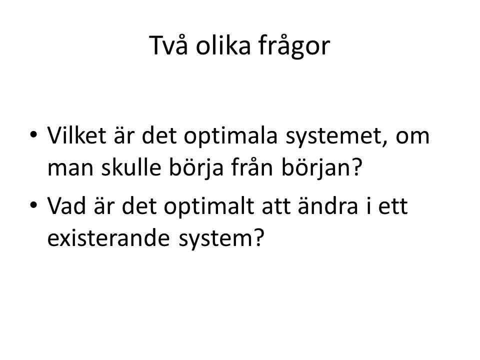 Två olika frågor • Vilket är det optimala systemet, om man skulle börja från början.