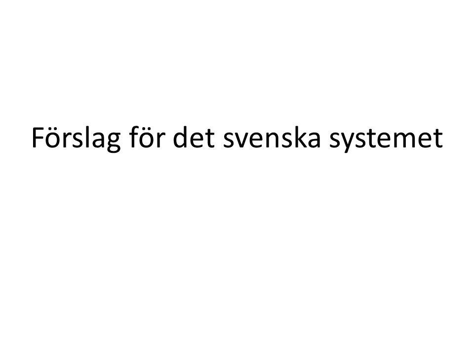 Förslag för det svenska systemet