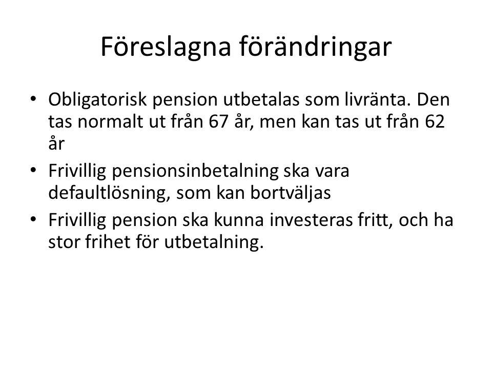 Föreslagna förändringar • Obligatorisk pension utbetalas som livränta.