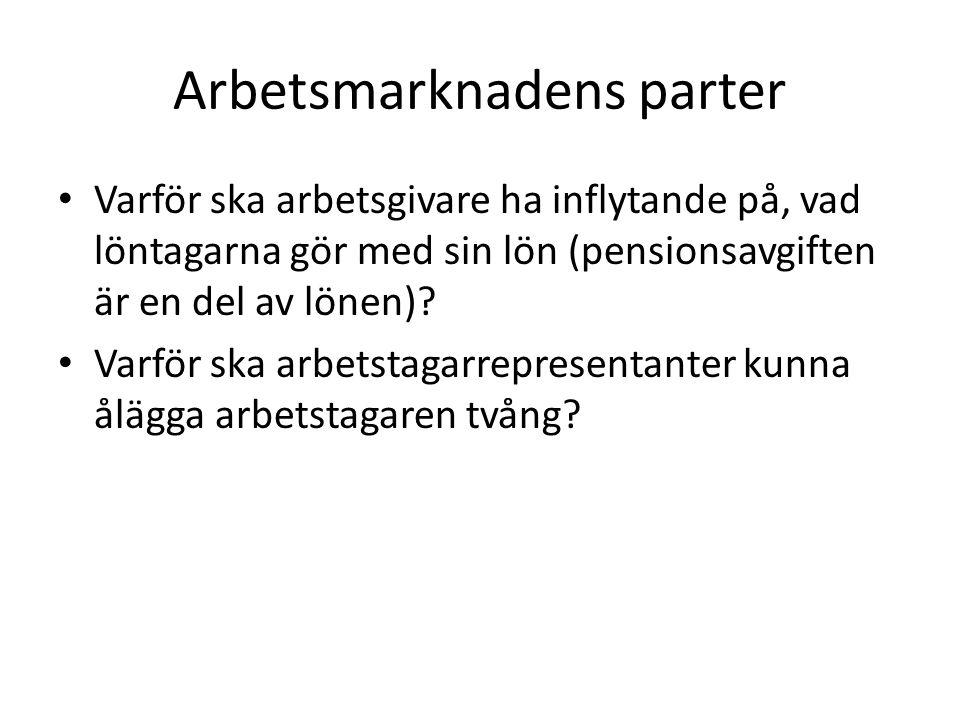 Arbetsmarknadens parter • Varför ska arbetsgivare ha inflytande på, vad löntagarna gör med sin lön (pensionsavgiften är en del av lönen).